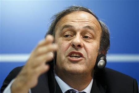 UEFA President Platini attends a news conference after the first UEFA Executive Committee reunion of the year at the UEFA headquarters in Nyon