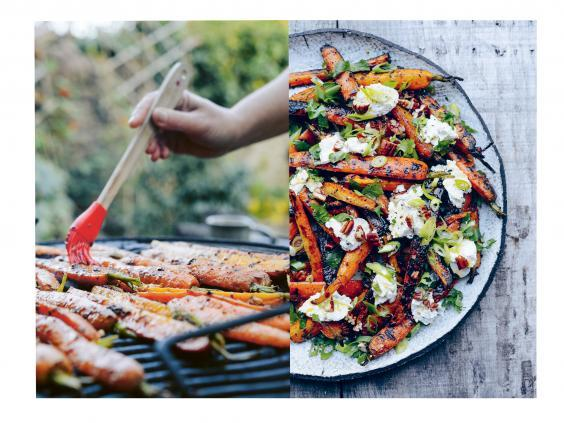 The combination of sweet charred carrots, creamy ricotta and crunchy nuts in this veggie salad will go down a treat (Jason Ingram)