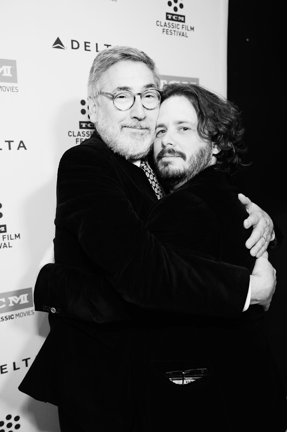 LOS ANGELES, CA - APRIL 08:  (EDITORS NOTE: Image was shot in black and white. Color version not available) Directors John Landis (L) and Edgar Wright attend the screening of 'The Kentucky Fried Movie' during the 2017 TCM Classic Film Festival on April 8, 2017 in Los Angeles, California. 26657_005  (Photo by Stefanie Keenan/Getty Images for TCM)