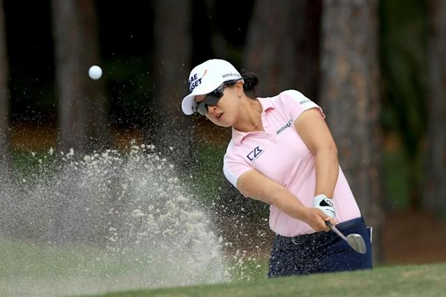 Kim Sei-young will defend a one-shot lead heading into the final round of the season-ending LPGA Tour Championship in Florida (AFP Photo/SAM GREENWOOD)