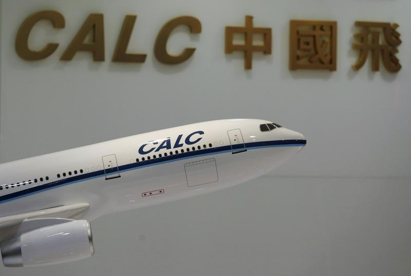 A model aircraft is displayed at the reception of the China Aircraft Leasing Group office in Hong Kong