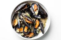 """De Laurentiis uses Peroni, an Italian beer, for this 20-minute dish, but any light-bodied lager will work and make a perfect drink pairing as well. <a href=""""https://www.bonappetit.com/recipe/steamed-mussels-with-fennel-and-tarragon?mbid=synd_yahoo_rss"""" rel=""""nofollow noopener"""" target=""""_blank"""" data-ylk=""""slk:See recipe."""" class=""""link rapid-noclick-resp"""">See recipe.</a>"""
