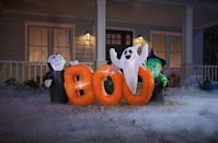 <p>A vampire, a ghost, and a witch? The gang is all here! Decorate your front yard with this festive <span>Inflatable Boo Sign with Characters</span> ($60). Once deflated, it folds into an easy cube so you can reuse it season after season.</p>