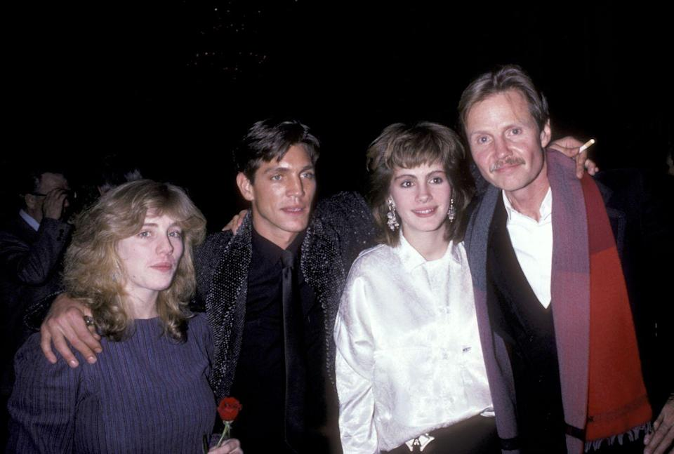 <p>Julia Roberts attended the premiere of <em>Runaway Train </em>and posed next to Jon Voight on the red carpet. Back in the day, the Academy-award winning actress sported a drastically different hairstyle than the curly ringlets she became known for in films like <em>Mystic Pizza </em>and <em>Pretty Woman</em>. </p>