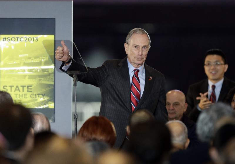 New York City Mayor Michael Bloomberg waves to the crowd after the State of the City address Thursday, Feb. 14, 2013, in New York. Bloomberg has reached a milestone, his 12th and final State of the City address. (AP Photo/Frank Franklin II)