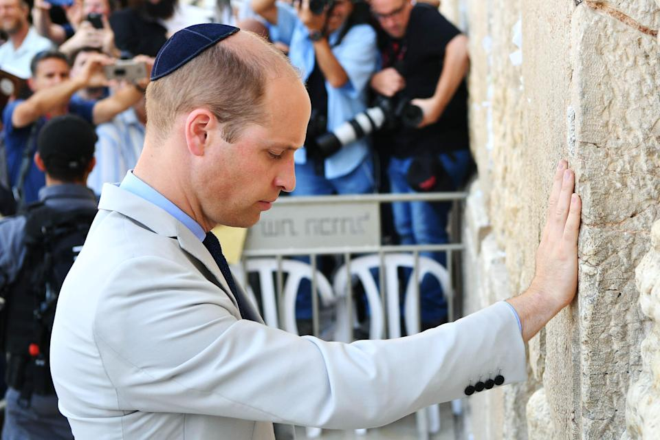 <p>The Duke of Cambridge visits the Western Wall, Judaism's holiest place of prayer, in Jerusalem's Old City in June (Getty) </p>