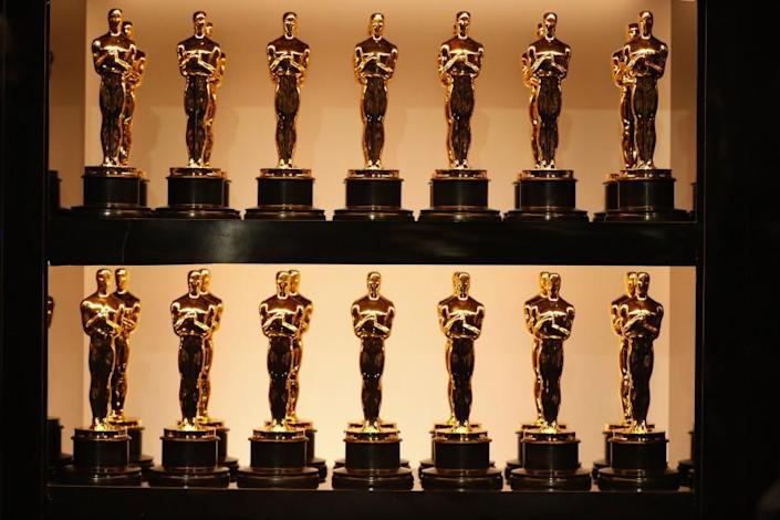 """Oscar statues wait backstage at the 90th Academy Awards in 2018. <span class=""""copyright"""">(Al Seib / Los Angeles Times)</span>"""
