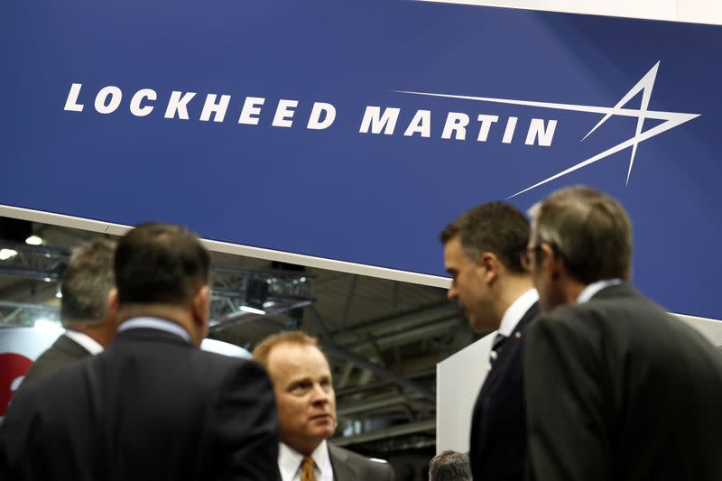 The logo of Lockheed Martin is seen at Euronaval, the world naval defence exhibition in Le Bourget near Paris