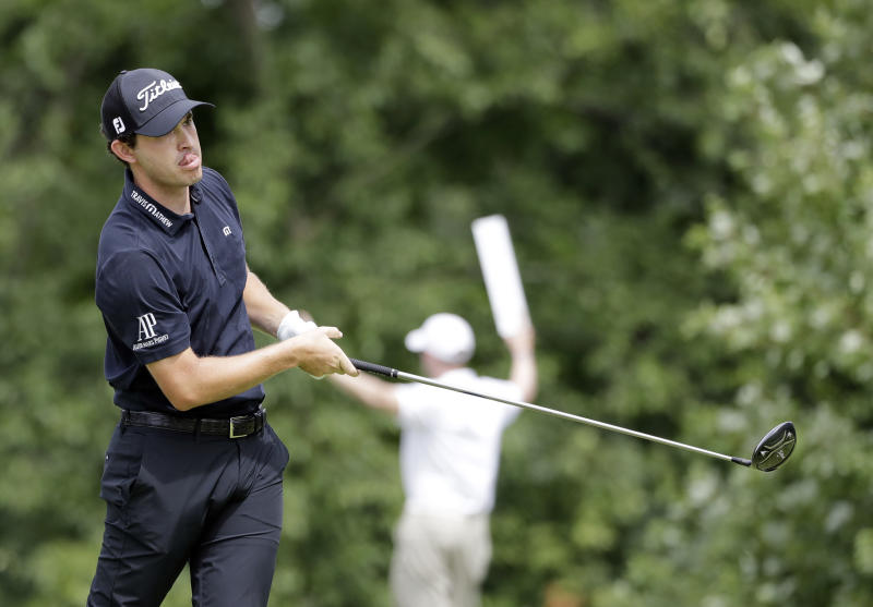 Patrick Cantlay watches his tee shot on the fifth hole during the final round of the BMW Championship golf tournament at Medinah Country Club, Sunday, Aug. 18, 2019, in Medinah, Ill. (AP Photo/Nam Y. Huh)