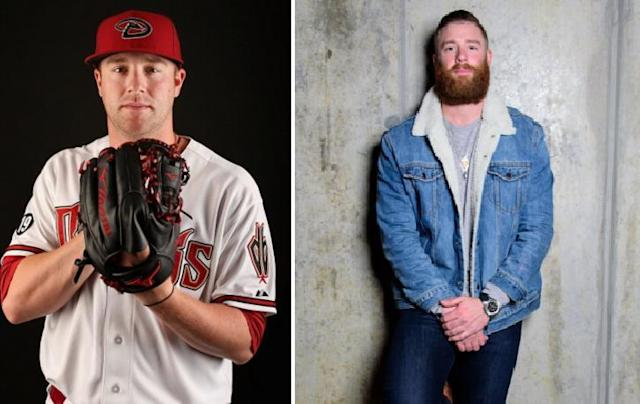 """Here's <a class=""""link rapid-noclick-resp"""" href=""""/mlb/players/9542/"""" data-ylk=""""slk:Archie Bradley"""">Archie Bradley</a> from spring training in 2015 and Archie Bradley from today (AP/Archie Bradley on Twitter)"""