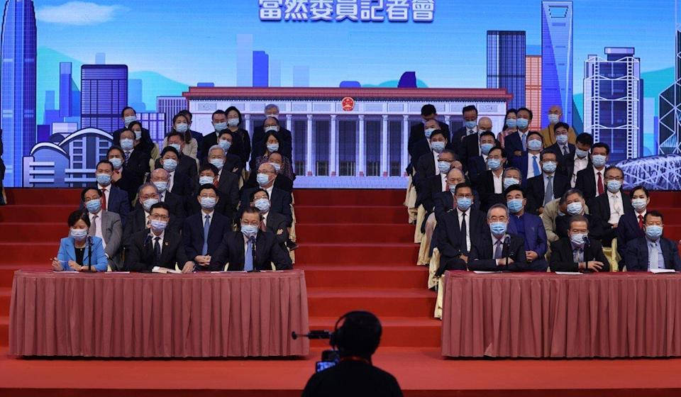 Members of the fifth sector of Hong Kong's Election Committee at a press conference earlier this month. Photo: Nora Tam