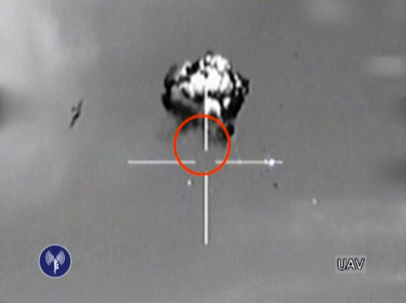 This image made from video released by the Israeli Defense Forces shows the downing of a drone that entered Israeli airspace in southern Israel, Saturday, Oct. 6, 2012. Israeli jets scrambled to intercept a drone that crossed into Israeli airspace Saturday from the Mediterranean Sea, bringing it down without incident in the south of the country, a military spokeswoman said.(AP Photo/Israeli Defense Forces via AP video)
