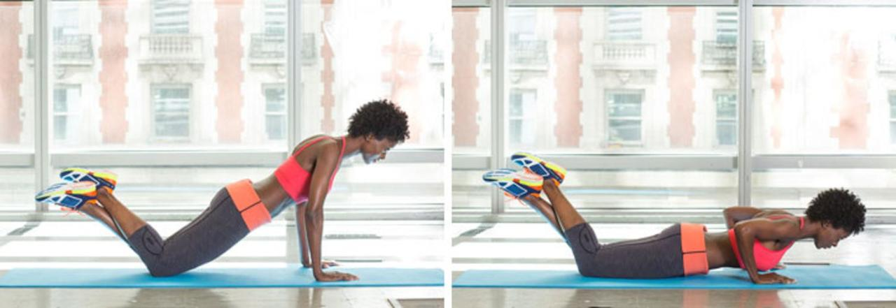 <p>If you're working up to a full push up, get down on all fours, arms straight, hands directly under your shoulders and lift your feet off the floor and cross your ankles as shown. (If you're already comfortable with full pushups, start in a plank position.) Bend your elbows back—not out to the sides—and lower your chest toward the floor. Push up to start and repeat for 60 seconds.</p> <p>Pushups are great multitasking moves: they target your triceps, chest and shoulders. And whether you drop your knees or go for the full plank push up, this is also a great core exercise.  </p>