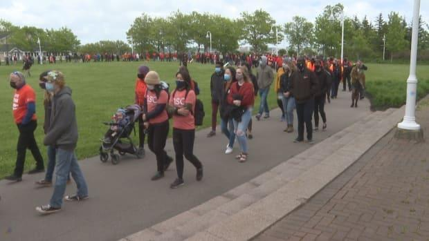 The line of mourners stretched around Confederation Landing Park in Charlottetown.