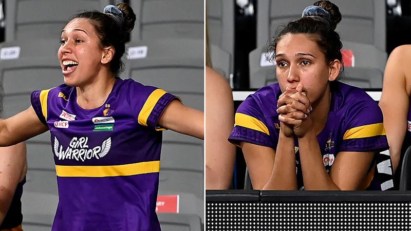 Pictured here, Jemma Mi Mi watches on from the Queensland Firebirds bench.