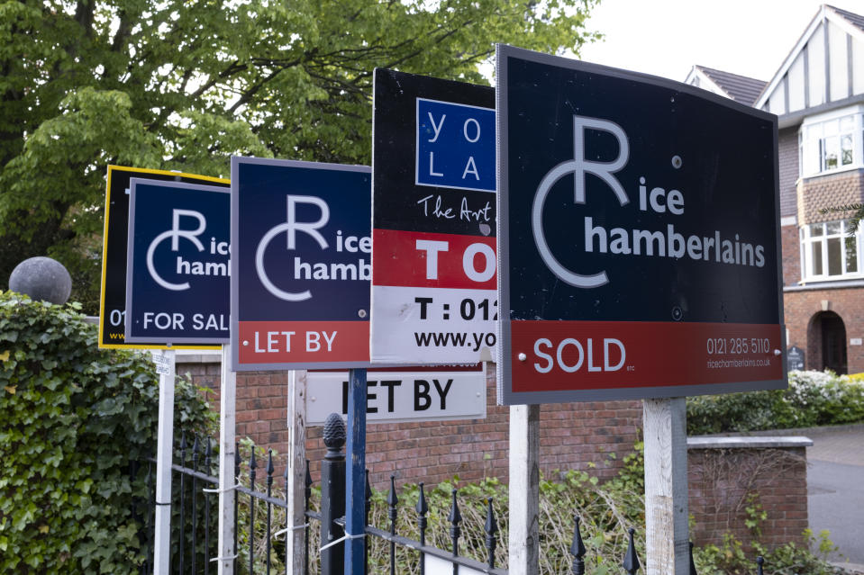 Rice Chamberlains estate agents for sale and sold signs in Moseley area in Birmingham, United Kingdom. An estate agent is a person or business that arranges the selling, renting, or management of properties and other buildings. An agent that specialises in renting is often called a letting or management agent. Estate agents are mainly engaged in the marketing of property available for sale. (photo by Mike Kemp/In PIctures via Getty Images)