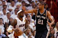 <p>2013: LeBron James #6 of the Miami Heat with the ball against Tim Duncan #21 of the San Antonio Spurs in the second quarter during Game Six of the 2013 NBA Finals at AmericanAirlines Arena on June 18, 2013 in Miami, Florida.<br></p>