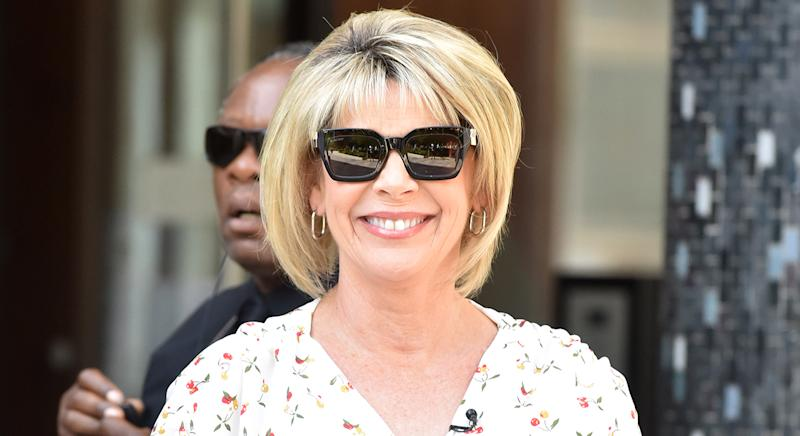 Ruth Langsford wears Alice Temperly Leopard Print Shirt dress on 'This Morning' today. (Getty Images)