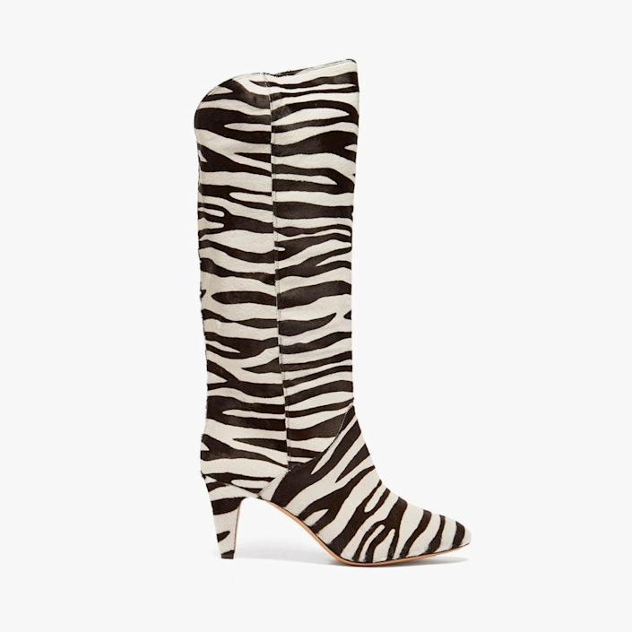 """$1790, MATCHESFASHION.COM. <a href=""""https://www.matchesfashion.com/us/products/Isabel-Marant-Laylis-zebra-print-calf-hair-knee-high-boots-1421279"""" rel=""""nofollow noopener"""" target=""""_blank"""" data-ylk=""""slk:Get it now!"""" class=""""link rapid-noclick-resp"""">Get it now!</a>"""