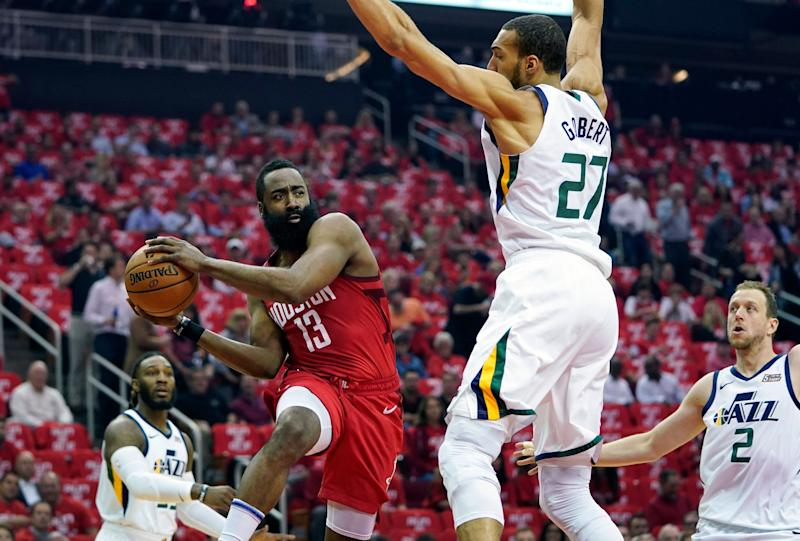 The Rockets closed out the Jazz, but James Harden's shooting woes are reason for concern. (AP)