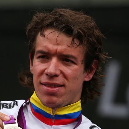 LONDON, ENGLAND - JULY 28: Silver medallist Rigoberto Uran Uran of Colombia celebrates during the Victory Ceremony for the Men's Road Race Road Cycling on day 1 of the London 2012 Olympic Games on July 28, 2012 in London, England. (Photo by Bryn Lennon/Getty Images)