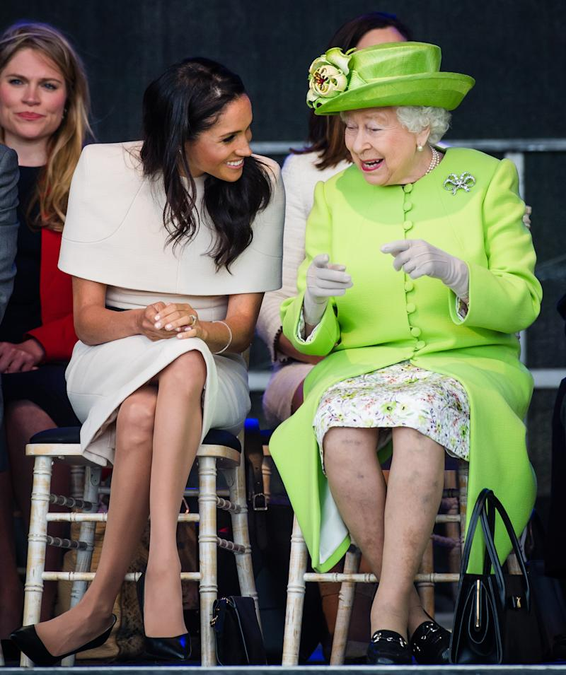 Meghan Markle Wore Earrings Gifted to Her by Queen Elizabeth II on Their First Joint Royal Outing