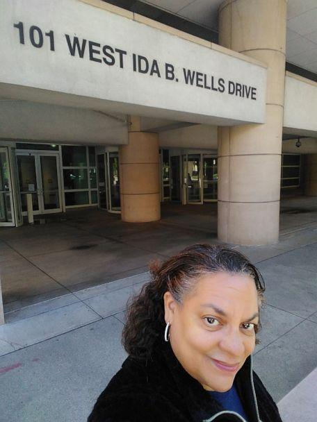 PHOTO: Michelle Duster, the great-granddaughter of Ida B. Wells, poses on Ida B Wells Drive in Chicago. (Courtesy Michelle Duster)