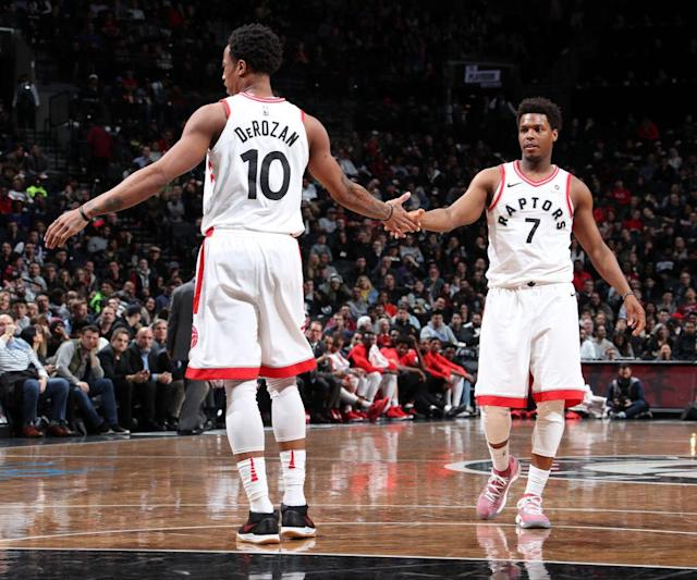 DeMar DeRozan and Kyle Lowry still run the show, but this year the Raptors have become more than the sum of their All-Star parts. (Getty)