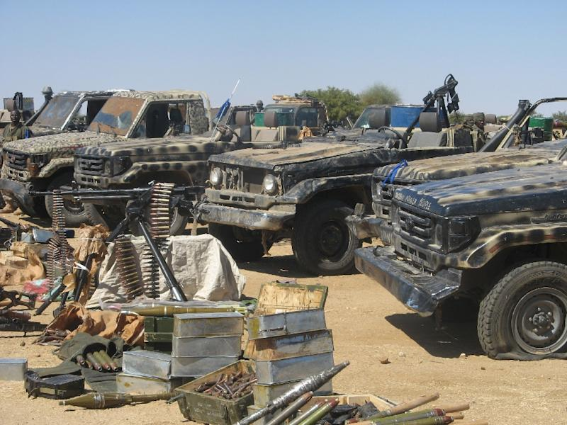 Vehicles and armaments belonging to the Union of Forces for Democracy and Development (UFDD) is displayed by the Chadian army, 90 kilometres (55 miles) to the east of Abou Goulem on November 27, 2007