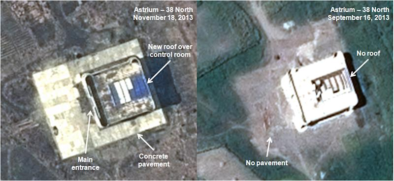 This combination of satellite images taken by Astrium on Nov. 18, 2013, left, and Sept. 16, 2013, and annotated and distributed by 38 North shows what appears to be a rocket assembly building and launch control center at the Tonghae site, located on North Korea's northeast coast. The U.S.-Korea Institute at Johns Hopkins School of Advanced International Studies told The Associated Press on Nov. 29, 2013, it has detected a new flurry of construction at Tonghae, one of North Korea's two missile launch sites, apparently to handle larger rockets. (AP Photo/Astrium - 38 North) MANDATORY CREDIT