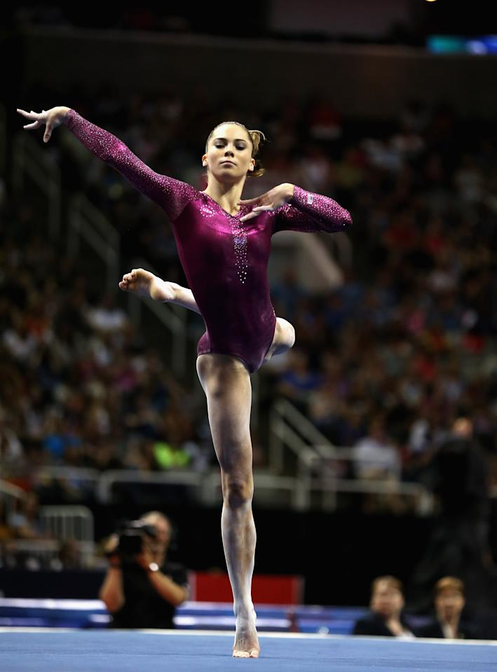 SAN JOSE, CA - JULY 01:  McKayla Maroney competes on the floor exercise during day 4 of the 2012 U.S. Olympic Gymnastics Team Trials at HP Pavilion on July 1, 2012 in San Jose, California.  (Photo by Ezra Shaw/Getty Images)