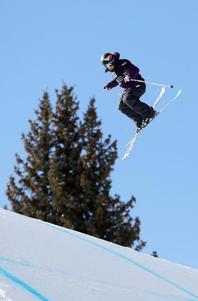 ASPEN, CO - FILE: Sarah Burke of Canada does an aerial maneuver as she descends the course to finish sixth in the Women's Skiing Slopestyle Finals during Winter X Games 14 at Buttermilk Mountain on January 28, 2010 in Aspen, Colorado. Freeskier Sarah Burke was seriously injured in a crash January 10, 2012 in Park City, Utah and was airlifted to Salt Lake City. (Photo by Doug Pensinger/Getty Images)