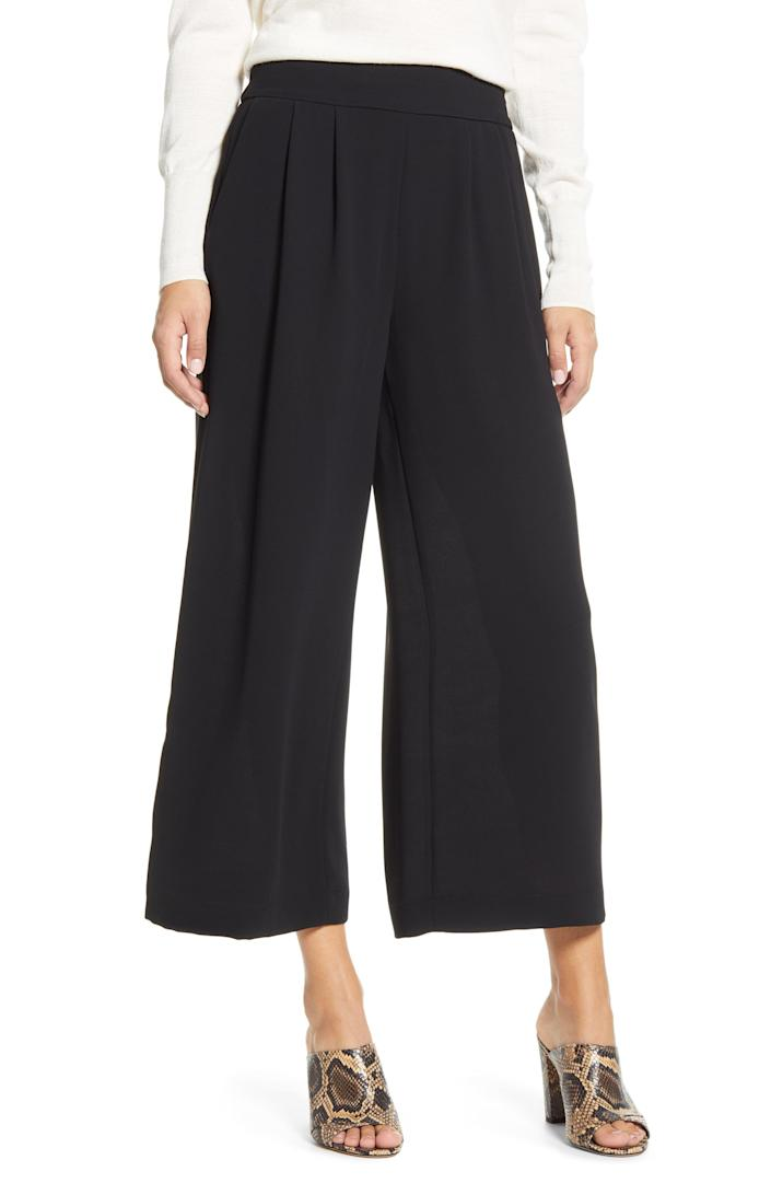 """<br> <br> <strong>1 STATE</strong> Wide Leg Crepe Trousers, $, available at <a href=""""https://go.skimresources.com/?id=30283X879131&url=https%3A%2F%2Fwww.nordstrom.com%2Fs%2F1-state-wide-leg-crepe-trousers%2F5513030"""" rel=""""nofollow noopener"""" target=""""_blank"""" data-ylk=""""slk:Nordstrom"""" class=""""link rapid-noclick-resp"""">Nordstrom</a>"""