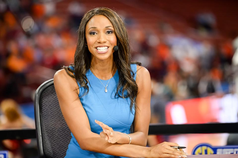 GREENVILLE, SC - MARCH 02: ESPN/SEC reporter Maria Taylor preparing prior to 1st half action between the Auburn Tigers and the Georgia Bulldogs on March 02, 2017 at Bon Secours Wellness Arena in Greenville, SC. (Photo by Doug Buffington/Icon Sportswire via Getty Images)