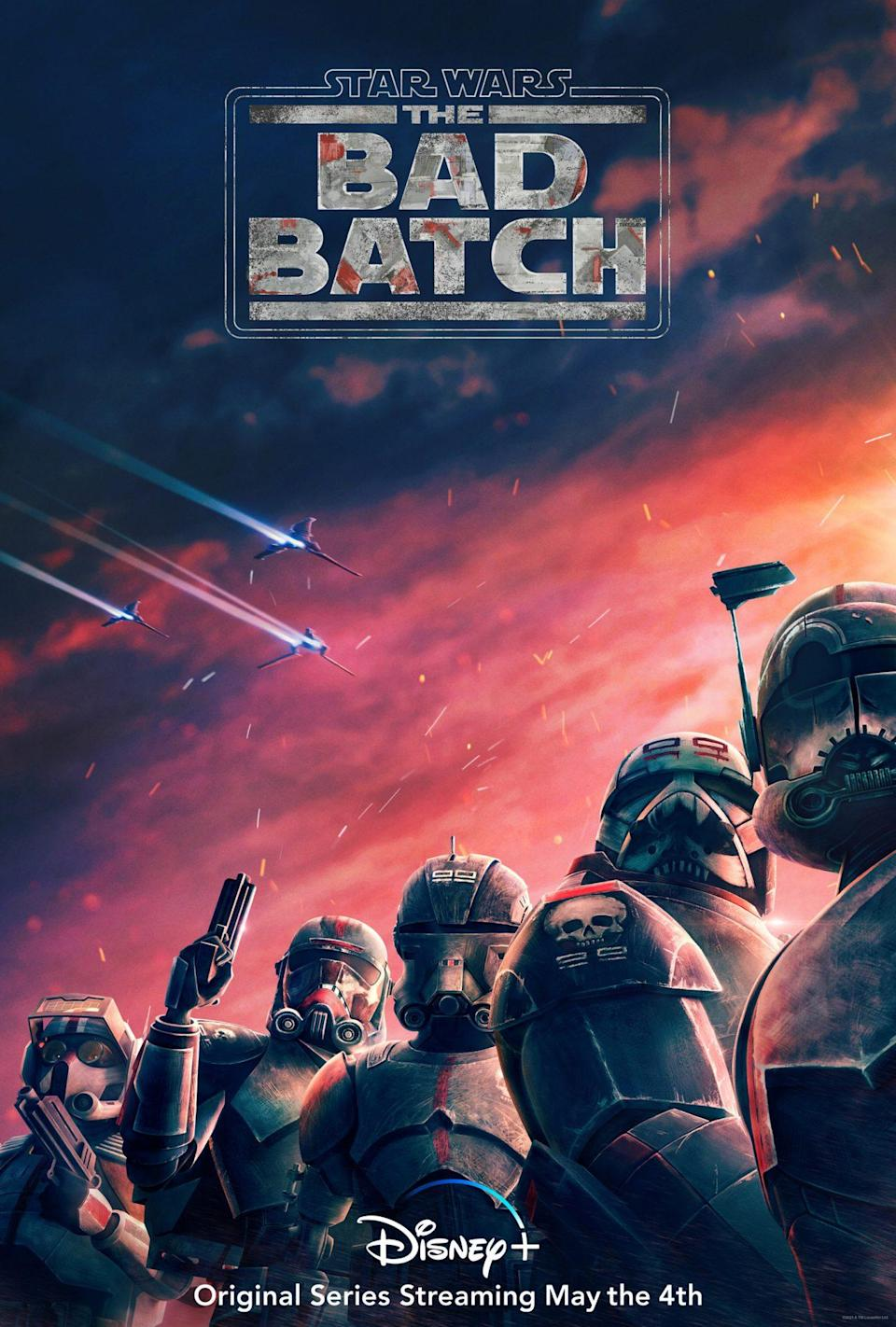 A poster for the Bad Batch shows five helmeted troopers in front of a beautiful sky