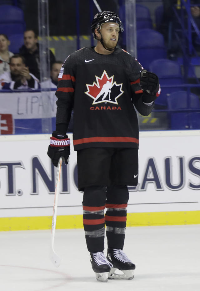 Canada's Anthony Mantha celebrates after scoring his sides first goal during the Ice Hockey World Championships group A match between Canada and France at the Steel Arena in Kosice, Slovakia, Thursday, May 16, 2019. (AP Photo/Petr David Josek)