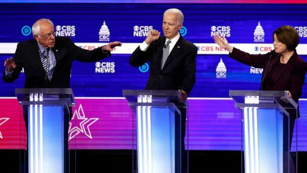 PHOTO: Democratic presidential candidates, Sen. Bernie Sanders, former Vice President Joe Biden, and Sen. Amy Klobuchar, participate in a Democratic presidential primary debate at the Gaillard Center, Feb. 25, 2020, in Charleston, S.C. (Patrick Semansky/AP)