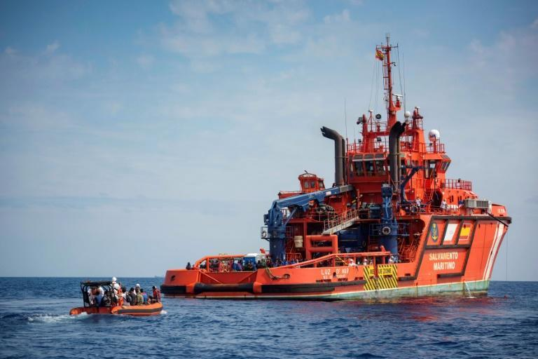 """The Salvamento Maritimo coastguard (boat pictured September 2018) had launched a rescue operation after being tipped off by a sailing boat that said it had spotted """"about 17 lifeless bodies in the sea"""" (AFP/Marcos Moreno)"""