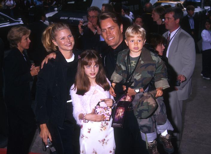 Christie Brinkley, her husband Peter Cook and family, arrive at the premeire of 'The Phantom Menace' at the Lowe's Astor Plaza in New York City May 16, 1999. (Photo by Diane Freed)