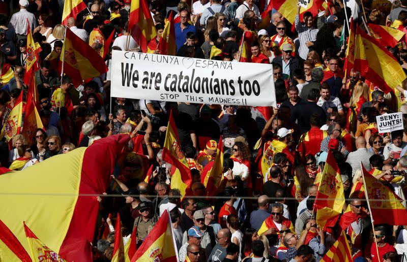 FILE PHOTO: Demonstrators in Barcelona call for unity