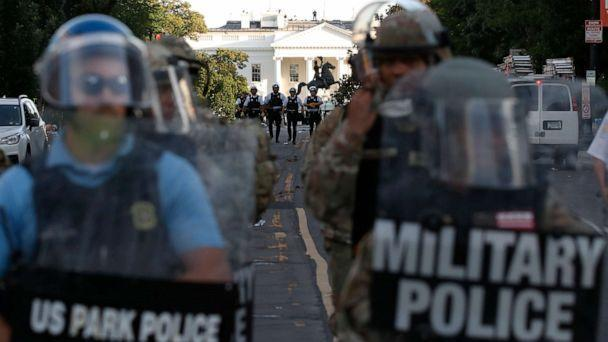 PHOTO: Police clear the area around Lafayette Park and the White House in Washington, as demonstrators protested the death of George Floyd, June 1, 2020. (Alex Brandon/AP)