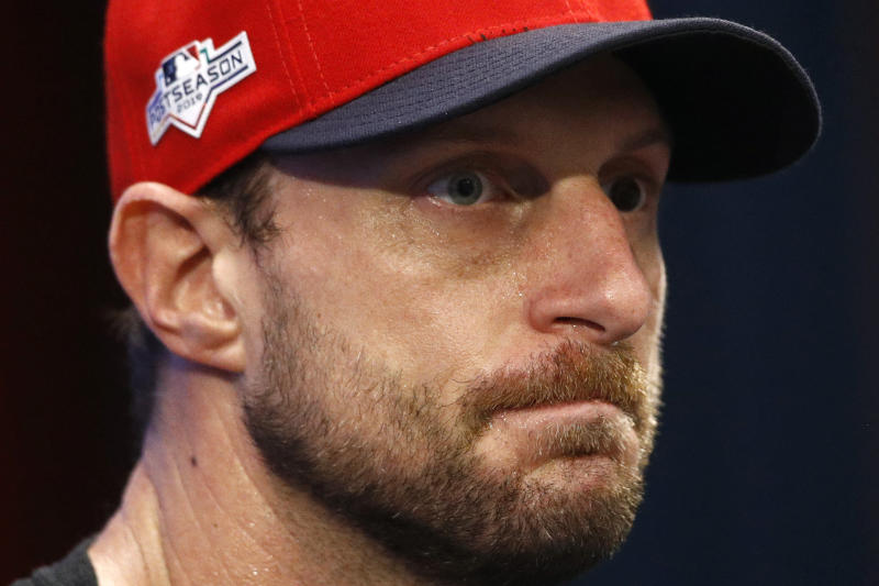 Washington Nationals starting pitcher Max Scherzer speaks at a baseball news conference, Monday, Sept. 30, 2019, in Washington. The Nationals are scheduled to face the Milwaukee Brewers in a National League wild card game Tuesday, Oct. 1. (AP Photo/Patrick Semansky)