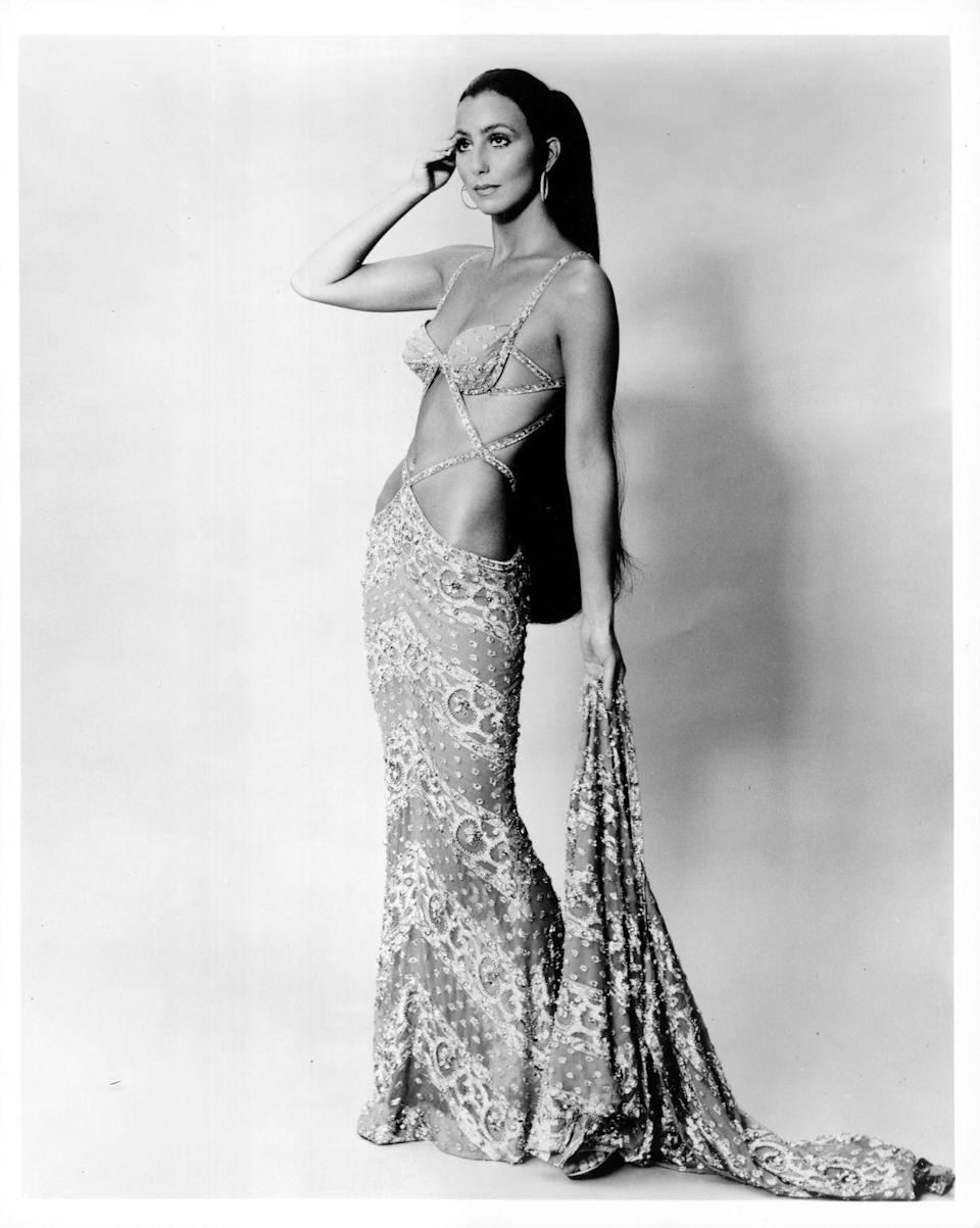 <p>In a cutout gown for a portrait session during the <em>The Sonny and Cher Show </em>years. </p>