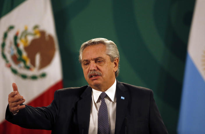 Argentina's President Alberto Fernández speaks during Mexican President Andrés Manuel López Obrador's daily, morning press conference at the National Palace in Mexico City, Tuesday, Feb. 23, 2021. Fernández is on a four-day official visit to Mexico. (AP Photo/Marco Ugarte)