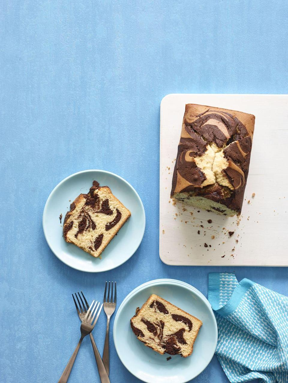 """<p>A surprising ingredient heats up this classic cake recipe: Hot cocoa mix stirred right into the batter makes deliciously chocolatey swirls!</p><p><em><a href=""""https://www.goodhousekeeping.com/food-recipes/a14867/vanilla-chocolate-pound-cake-recipe-wdy0914/"""" rel=""""nofollow noopener"""" target=""""_blank"""" data-ylk=""""slk:Get the recipe for Vanilla-Chocolate Pound Cake »"""" class=""""link rapid-noclick-resp"""">Get the recipe for Vanilla-Chocolate Pound Cake »</a></em></p>"""