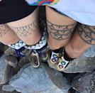 """<p>""""These are Kanayok Klengenberg thighs I tattooed. The first thigh tattoos I did, and my thigh tattoos (right)"""" Johnston said about her project to revitalize traditional tattoos in her community.</p>"""