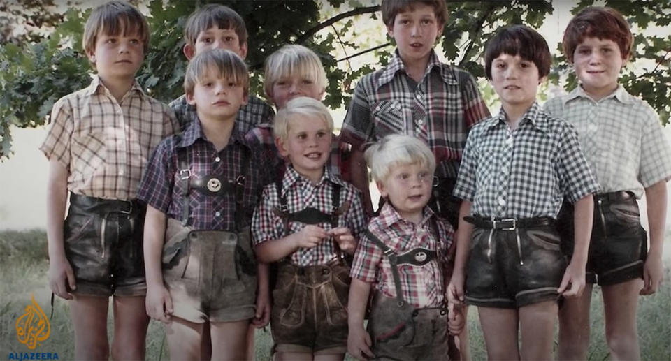 Children of the cult stand in a group. Source: The Colony: Chile's dark past uncovered/ Al Jazeera Correspondent