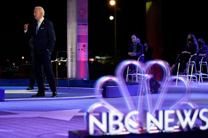 Democratic presidential candidate former Vice President Joe Biden speaks at a NBC Town Hall on Oct. 5, 2020, in Miami.