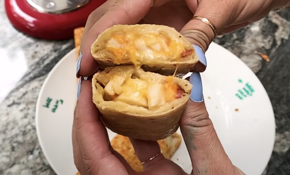 <p>This is one of the high protein options from Hot Pockets and it truly delivers. You get big chunks of chicken and a heap of mellow cheddar cheese. It's like the hickory ham and cheddar Hot Pocket but with more meat! </p>