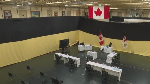 The court martial took place in the gymnasium of the J. David Stewart Armoury in Charlottetown. (Brian Higgins/CBC - image credit)